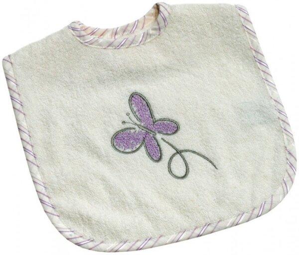 Be Bes Collection 745-26 Klett -Lätzchen 30x40cm Butterfly ecru/lila