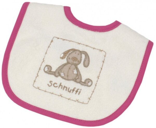 Be Bes Collection 474-61 Mini-Klett Lätzchen Schnuffi 24 x 28cm ecru/ rosa