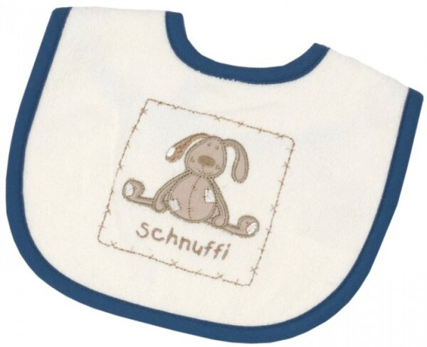 Be Bes Collection 474-62 Mini-Klett Lätzchen Schnuffi 24 x 28cm ecru/blau