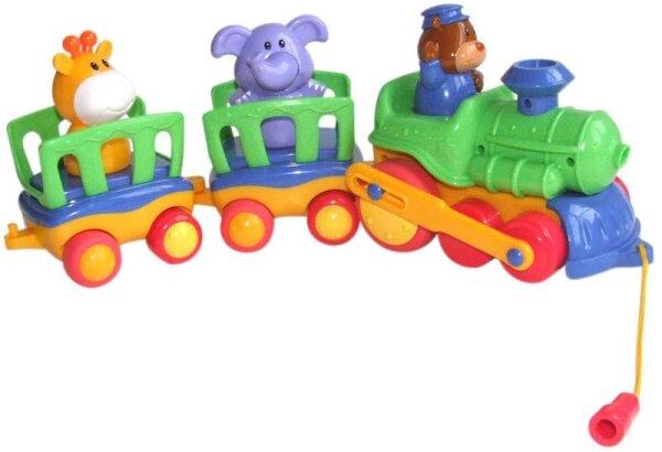 Bieco 11-061043 Nachziehzug mit Tanztieren, animal train