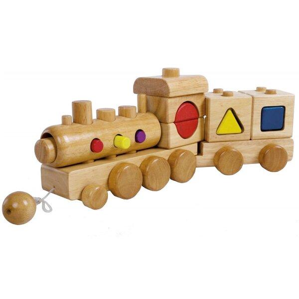 Bieco 23-001668 Holz- Lokomotive mit Bauklötzen