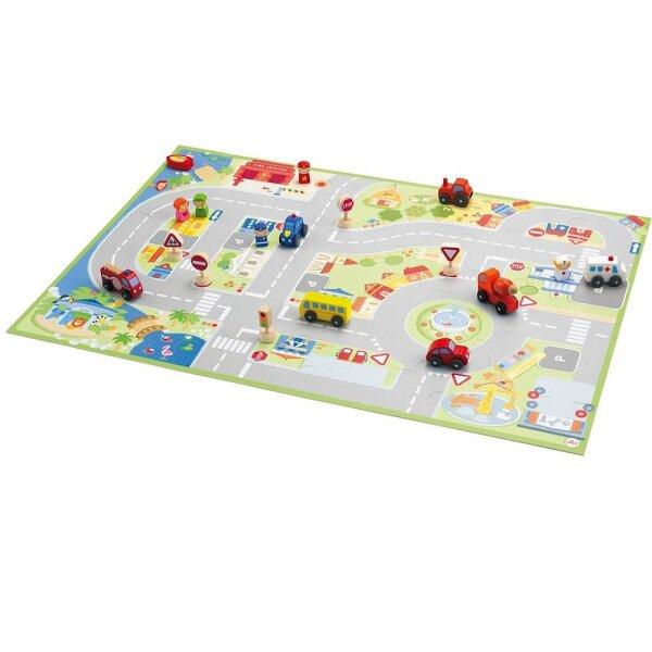 Sevi 82624 Spielpuzzle Stadt mit Holz-Figuren