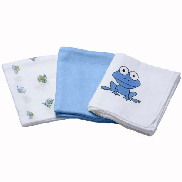 Odenwälder 10024-1906 Mullwindeln 3er Pack Frosch blau