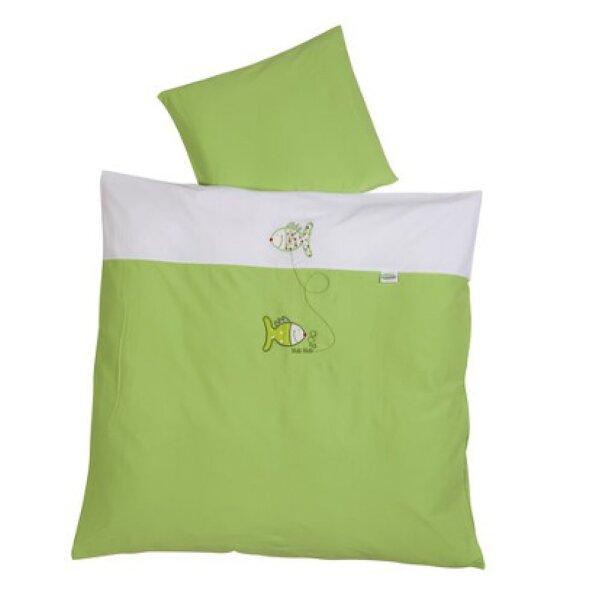 Odenwälder 2049-525 Baby-Bettwäsche 80 x 80 cm aus Jersey mit Applikation limette