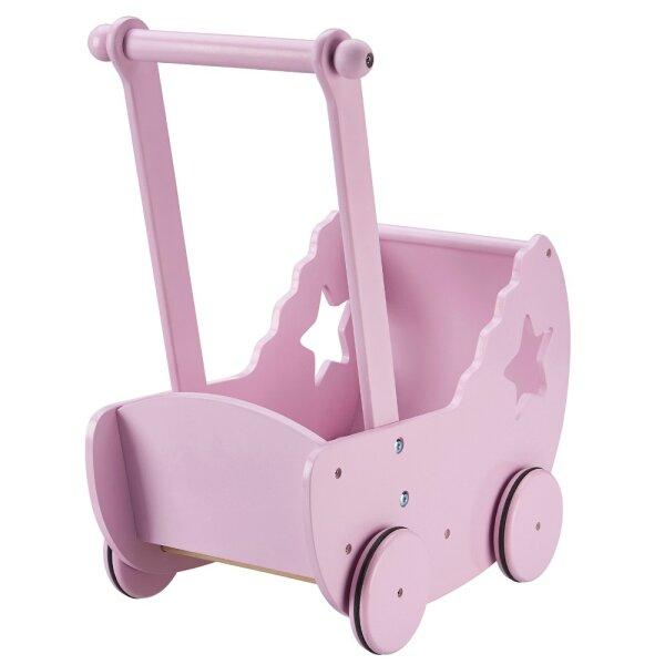 Kids Concept 412668 Puppenwagen mit Decke und Matratze rosa