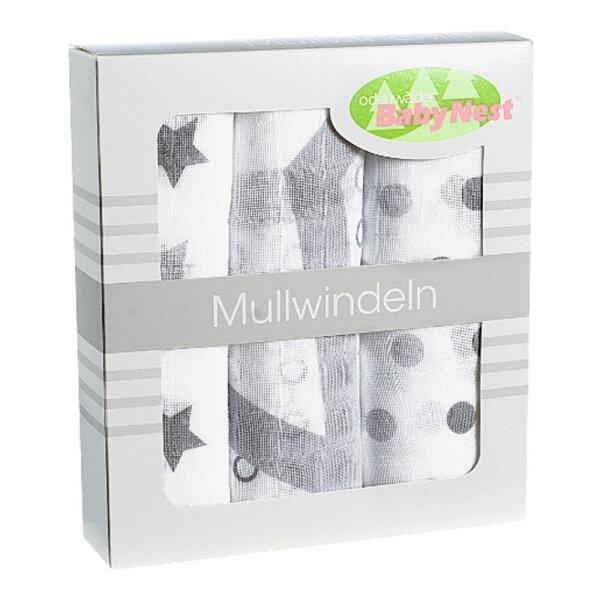 Odenwälder 10081-120 Doppelmull Windeln 3er Box Sterne/Tupfen/Kreise silber