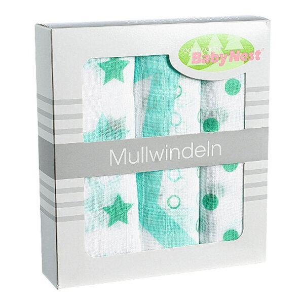 Odenwälder 10081-516 Doppelmull Windeln 3er Box Sterne/Tupfen/Kreise applemint