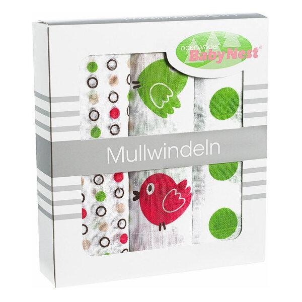 Odenwälder 10082-525 Doppelmull Windeln 3er Box Vögelchen limette
