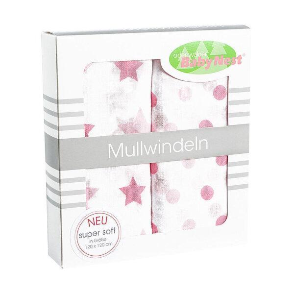 Odenwälder 10085-300 Doppelmull Windeln 2er Box Sterne/Tupfen rose